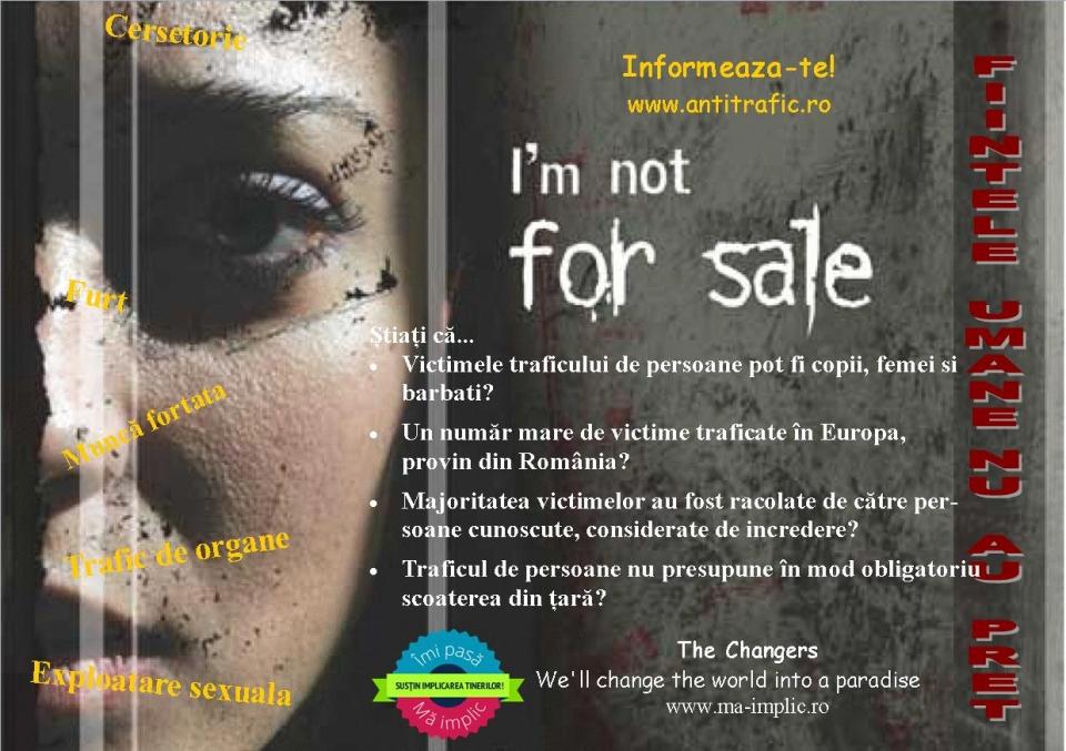Fluturaş distribuit în mini-campania de prevenire a traficului de fiinţe umane