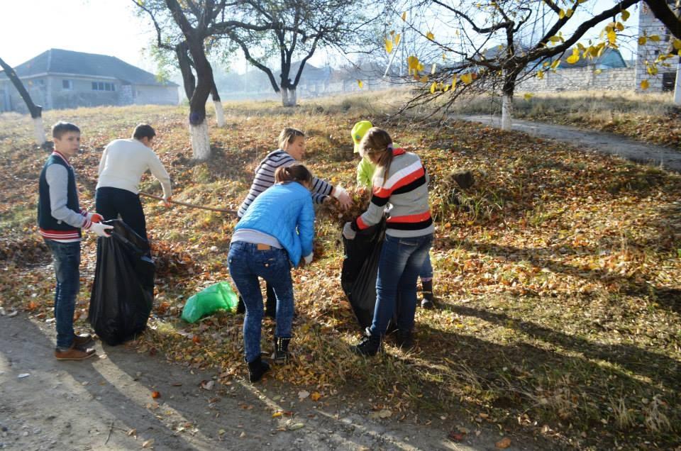 Elevii fac curăţenie în parcul din apropierea şcolii